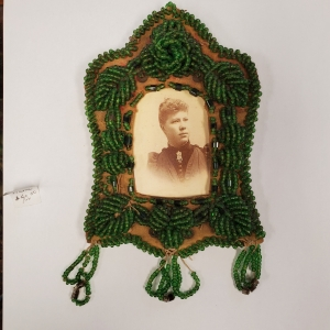 beaded leather photo frame