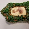 beaded leather photo frame