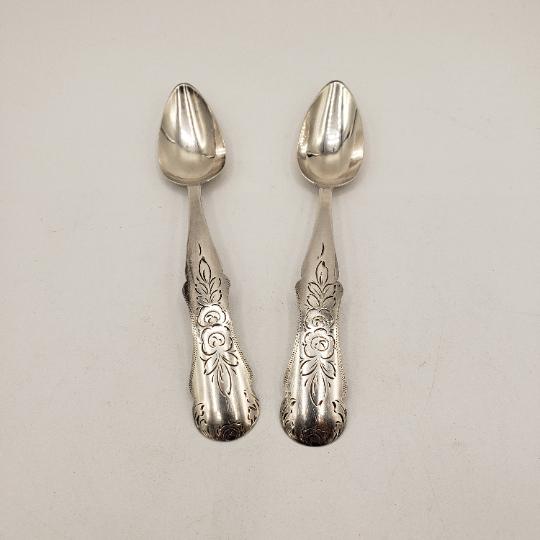 Pair Dutch Silver Sugar Spoons