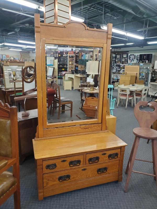 Oak Dresser with Large Mirror