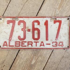 1934 Alberta License Plate