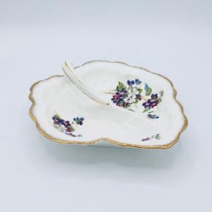 Violets for Love Leaf Shaped Dish
