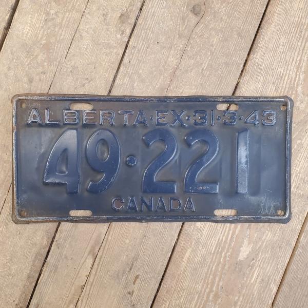 1943 Alberta License Plate