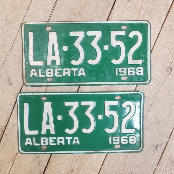 Pair 1968 Alberta License Plates