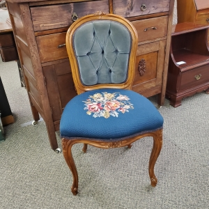 Embroidered and Tufted Blue Chair